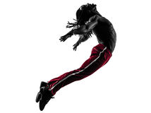 African man exercising fitness zumba dancing silhouette Stock Images