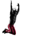 African man exercising fitness zumba dancing silhouette Royalty Free Stock Image