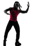African man exercising fitness zumba dancing silhouette Stock Image