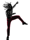 African man exercising fitness zumba dancing silhouette Stock Photos