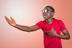 African man in glasses singing Royalty Free Stock Images