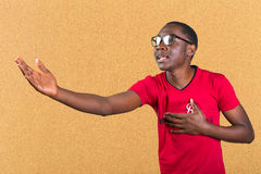 African man in glasses singing Royalty Free Stock Photography