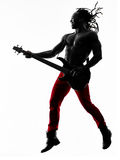 African man guitarist bassist  player playing Royalty Free Stock Photos