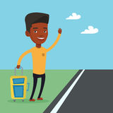 African man hitchhiking vector illustration. Royalty Free Stock Photography