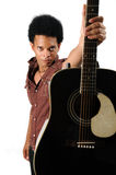 African Man Holding Guitar Stock Images