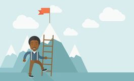 African man holding a ladder, step for success Stock Photo