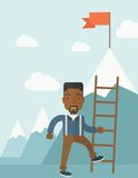 African man holding a ladder, step for success Stock Images