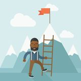 African man holding a ladder, step for success Stock Image