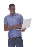 African man holding laptop Royalty Free Stock Photography