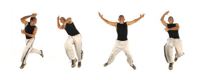 African man jumping in 4 poses Stock Image