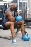 African man kettle bell Stock Photography