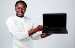 African man with laptop Royalty Free Stock Images