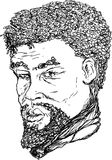 African Man Outline. Outlined ink portrait of 18th century African man Royalty Free Illustration