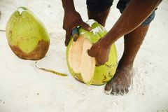 African man peels coconut on the beach close up. African man peels coconut on the beach close-up Stock Photography