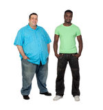African man with perfect body together with a nice fat man Stock Photo
