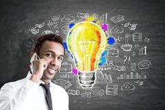 African man, phone and business idea, blackboard Stock Photos