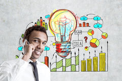 African man, phone and business idea, concrete Stock Photo
