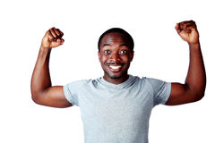 African man with raised hands Stock Image