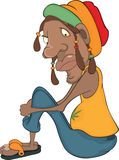 African man rastaman cartoon Royalty Free Stock Image