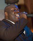 African man singing live Royalty Free Stock Photo