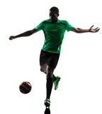 African man soccer player  silhouette Royalty Free Stock Photography