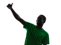 African man soccer player  silhouette Stock Photography