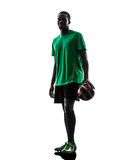 African man soccer player  silhouette Royalty Free Stock Photo