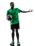 African man soccer player  silhouette Stock Photo
