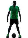African man soccer player standing silhouette royalty free stock photos