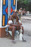 African man in traditional dress at Lesedi Cultural Village. Royalty Free Stock Photography