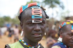 African tribal man. African man with tribal hair style of the Banna ethnic group, Ethiopia stock photos