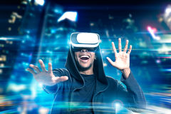 African man in vr glasses in city Royalty Free Stock Image