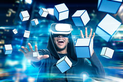 African man in vr glasses with cubes Stock Photography