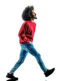 African man walking walker happy isolated. One african man  walking walker happy in silhouette isolated on white background Royalty Free Stock Images
