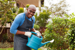 African man watering plants Stock Photo