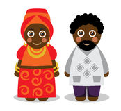 African man and woman in national clothes. Cute katun black African couple man and woman in bright national clothes Royalty Free Stock Photography