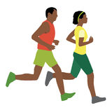 African man and woman running. Vector illustration of african man and woman running Stock Illustration