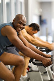 African man working out. Fit african men working out in gym Royalty Free Stock Photos