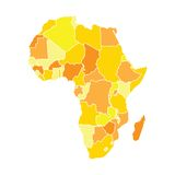 African map in yellow colors Royalty Free Stock Photo