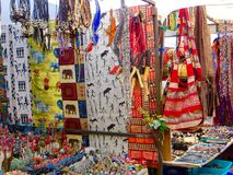 African Market. Colourful blankets and goods at an open air market in Cape Town, South Africa royalty free stock photos