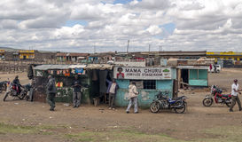 African market. In kenya in africa on a cloudy day. Picture taken in May 2014 Royalty Free Stock Photo