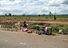 African market. In kenya in africa road on a sunny day. Picture taken in May 2014 Stock Photos
