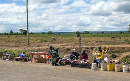 African market. In kenya in africa road on a sunny day. Picture taken in May 2014 Stock Images