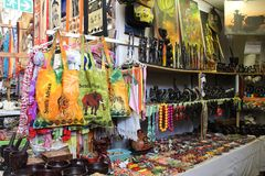 African marketplace with clothes and souvenirs at Hartebeertspoort Dam, South Africa stock photo