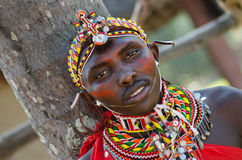 African Masai. In a tourist resort in kenya stock photography