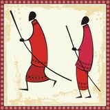 African Masai Warriors Illustrations. Illustrations of African Masai warriors Stock Image