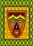 African mask. With ethnic tracery stock illustration