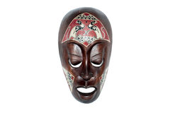 African mask. Handmade antique african mask, isolated Royalty Free Stock Photography