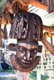 African mask. Antik ,brown African mask on african market stock images