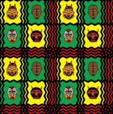 African Mask Background. African Textile Pattern with masks Stock Photography